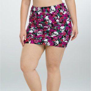 Torrid Floral Skull Swim Bottom Skirt Ruched Sz 3